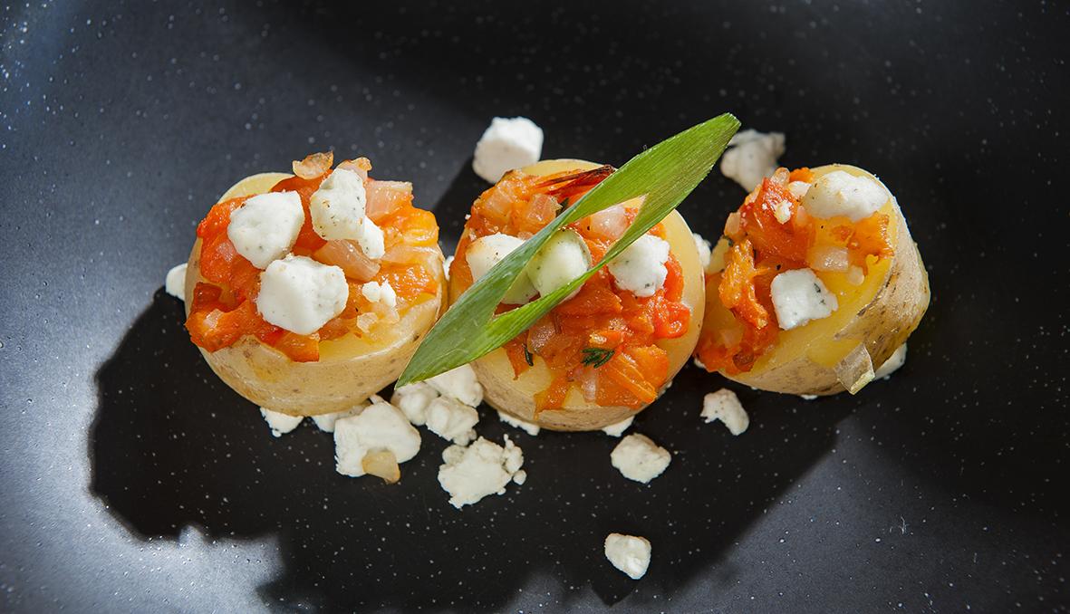 Aardappelsnoepje met korrelkaas, zoete gegrilde paprika en tijm_3_web